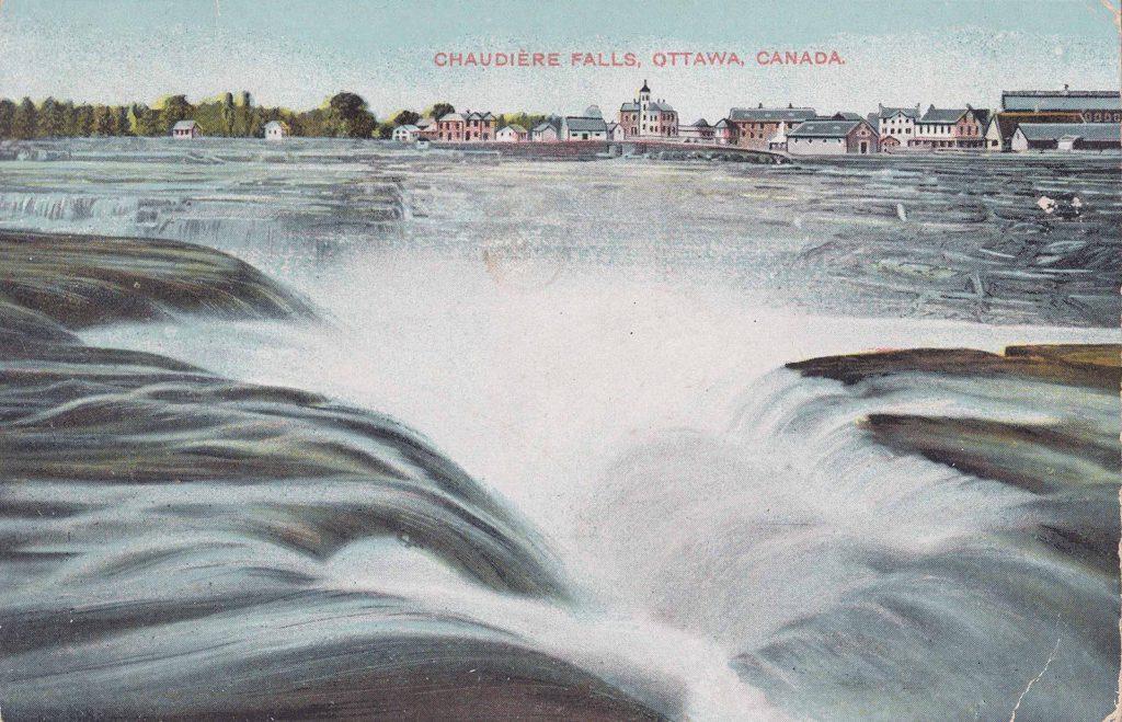 postcard of Chaudiere Falls postmark -1908Nov30