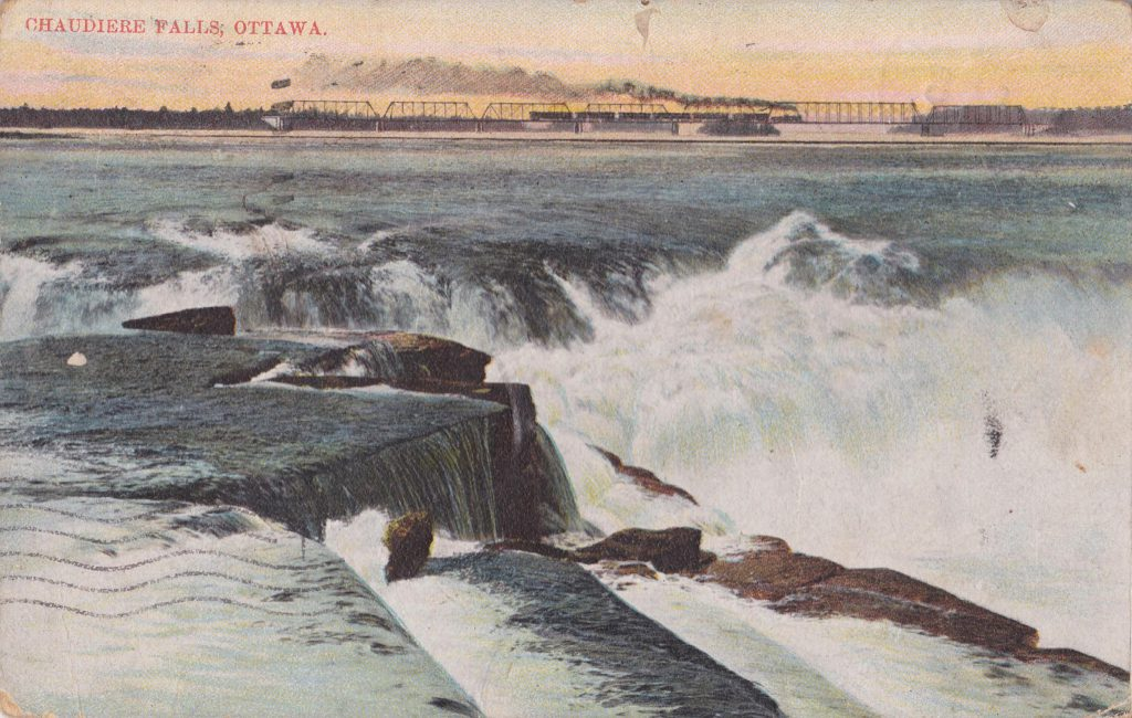postcard of Chaudiere Falls postmark -1908Sep22